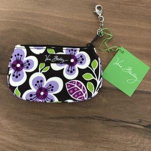 Vera Bradley plum petals clip zip mini wallet